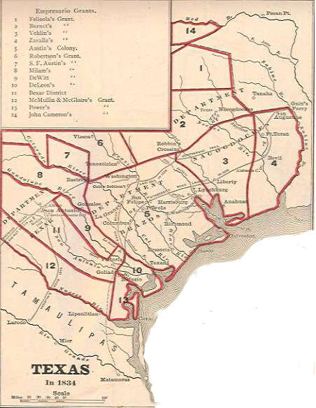 Map Of Texas In 1834