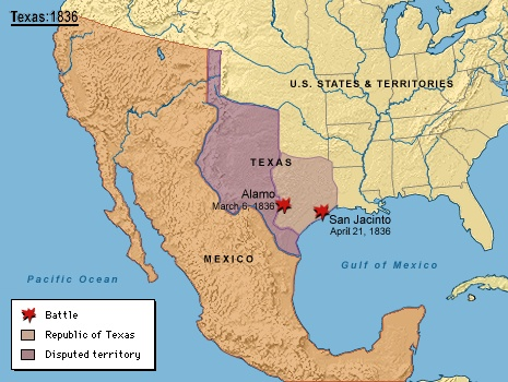 map of u s mexico texas in 1836